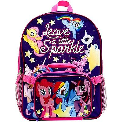 """New My Little Pony Large 16"""" Canvas Backpack with Detachble Insulated Lunch Box"""