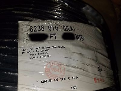 Belden 8238 RG-11/U 75 Ohm 18awg Stranded Tinned Copper Coaxial Cable Black/10ft
