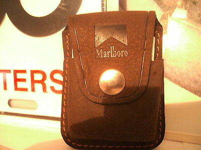 MEGA RARE Zippo Windproof Leather Lighter Clip Pouch Brown NEW