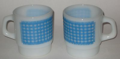 MILK GLASS Stackable MUGS w/Turquoise GINGHAM Vintage ANCHOR Hocking FIRE KING