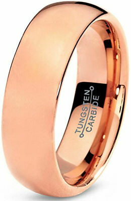 6mm Rose Gold Plated High Polished Comfort Fit Domed Tungsten Ring Wedding Band