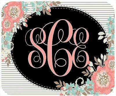 Mouse Pad Custom Personalized Thick Mousepad- Flowers With Monogram In Oval