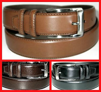 "MEN'S CASUAL DRESS, GENUINE LEATHER 2 LOOP BELT 1 1/4"" Silver Buckle + BIG SIZE"