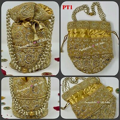 Bollywood Celebrity Bridal Gold Potli Clutch Dolly Bag-Indian Wedding Accessory