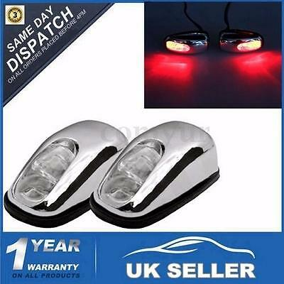 Pair Chrome Red Led Neon Light Front Windscreen Washer Jets Nozzle Spray Water