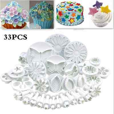 33pc Sugarcraft Cake Cupcake Decorating Fondant Icing Plunger Cutters Tools GTW