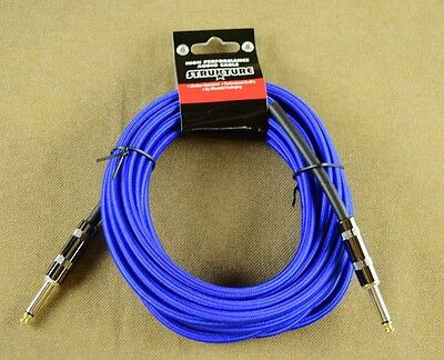 """New Strukture Guitar Amp Cable 18' 6"""" long, Woven, Blue"""
