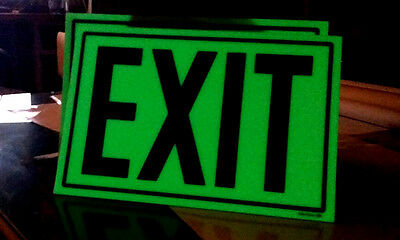 1- Photo luminescent EXIT SIGN with ADHESIVE BACKING