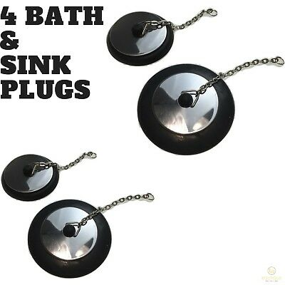 2x BATH AND SINK PLUGS Basin Bath Stopper Chrome Rubber 55mm 70mm New
