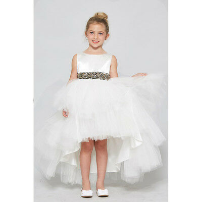 WHITE Flower Girl Dress Prom Birthday Dance Formal Wedding Bridesmaid Gown Party