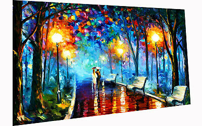 A1  Painting PRINT rain walk couple Modern Abstract Art Wall Deco Poster
