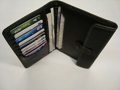 Luxury Mens Soft Leather Large Tall Wallet Multi Function Black Top Brand Boxed