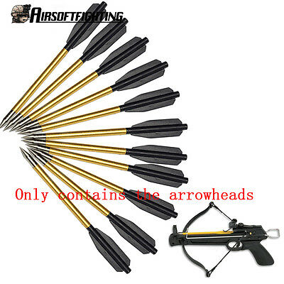 12X Aluminum Metal Arrow Bolts for 50lb & 80lb Pistol Crossbow Bow Hunting Golde