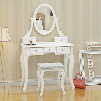 White Dressing Table Makeup Desk With Stool 5 Drawers and Oval Mirror Bedroom UK