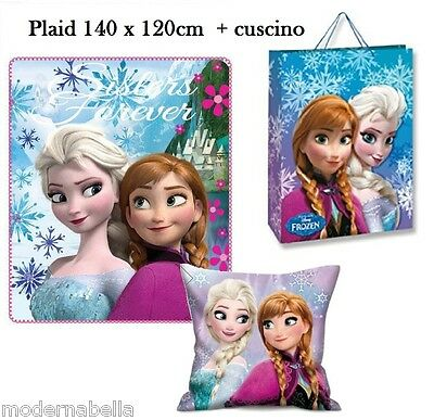 Frozen Elsa set regalo Coperta Plaid in Pile + Cusino + Borsa,bambina disney