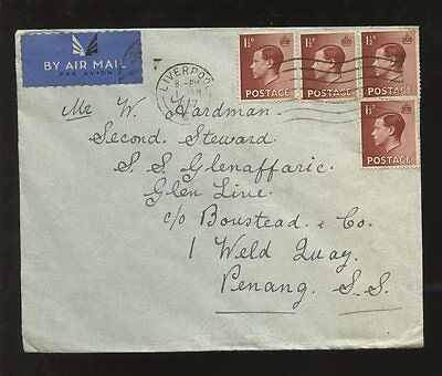 GB KE8 1937 to MALAYA AIRMAIL 1st JAN...SHIP GLENAFFARIC