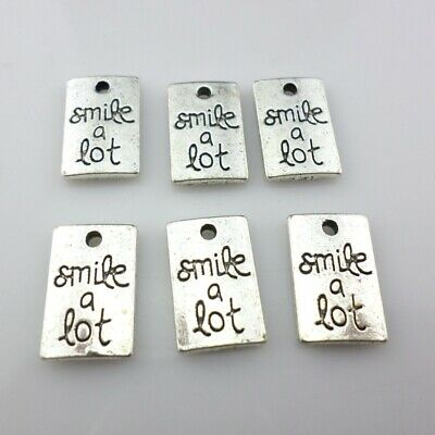 "12/36pcs Tibetan Silver Words ""smile a lot"" Rectangle Charms Pendants 10x15mm"