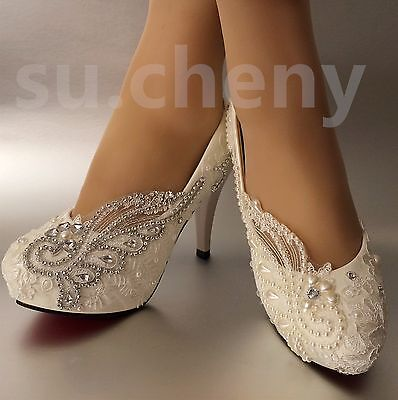 "su.cheny 3"" 4"" heels White light ivory pearls lace crystal Wedding Bridal shoes"