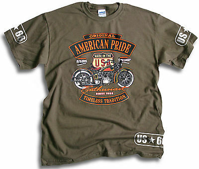 Biker  US-66 American Pride Timeless Tradition Mens Olive T Shirt Sm-2XL