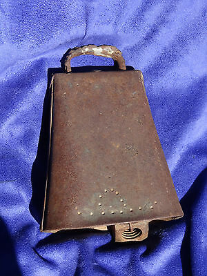 Large Antique Metal COW BELL -  Hand forged, Great Sound, Nice Patina