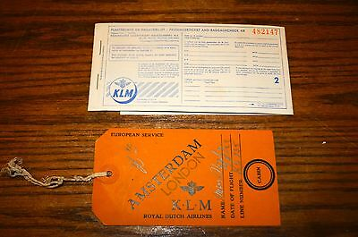 1952 KLM Royal Dutch Airline Passenger Ticket And Baggage Check & Luggage tag ..