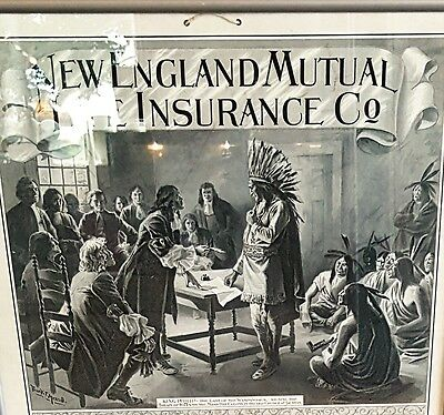 1900 New England Mutual Life Insurance Co. Boston Ma Calendar Framed ABNCO