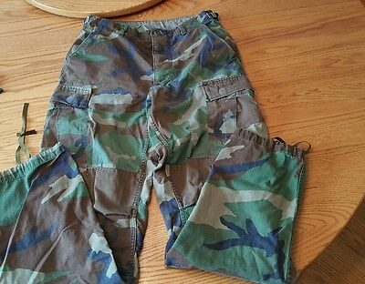 Army Camo Fatigues Button Fly 27-28/33 Small/Long GUC drawstring cuffs