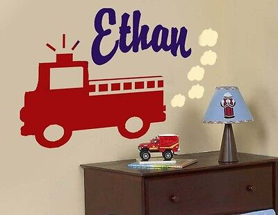 Frankie's Firetruck Engine 27 Personalized Name  Nursery Vinyl Wall Decal Art