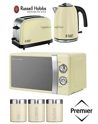 Russell Hobbs Colours Plus Kettle and Toaster Set & Microwave & Cream Canisters