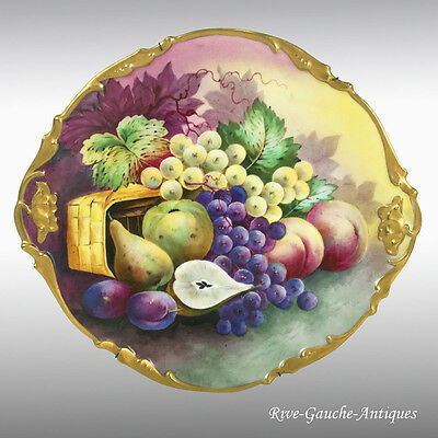 Limoges France hand-painted fruits charger/ plate, ca 1890 to 1932