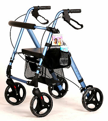 Rollator Walker Rolling With Adjustable Seat In Height For Small Or Tall Adult