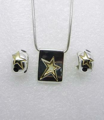Vintage Sterling Silver 18K Yellow Gold Star Necklace And Earrings -  Lb-C1349