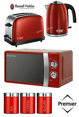 Russell Hobbs Colours Plus Kettle and Toaster Set & Microwave with Red Canisters