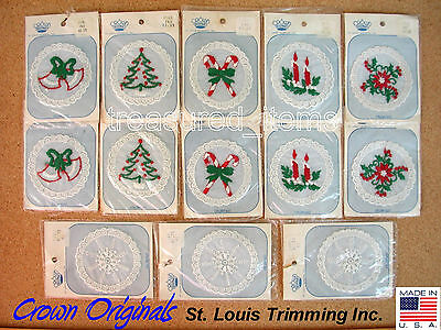 Vintage Christmas Holiday Appliques Embroidered Sew on Trees Snowflake Bells 13