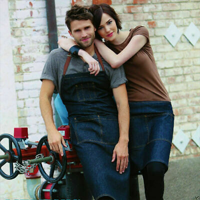 Urban Denim Apron | Adult Unisex Plain Full Bib | Cafe Waiter Culinary Apparel