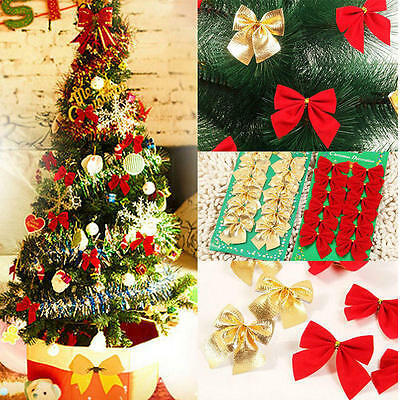 12 Pcs Noël Ornement Nœud Papillon Hanging Décoration Sapin de Noël Décor