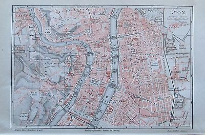 1889 LYON historische Stadtkarte Lithographie old city map
