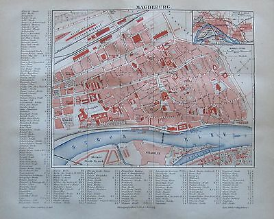 1889 MAGDEBURG historische Stadtkarte Lithographie old city map