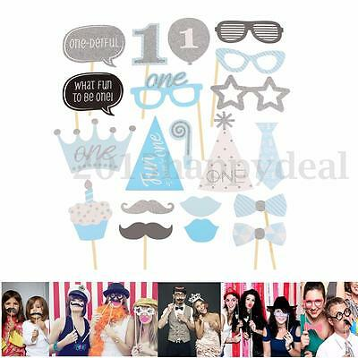 20Pcs Baby 1st Birthday Party Photo Booth Props Shower Mustache On Stick Decor