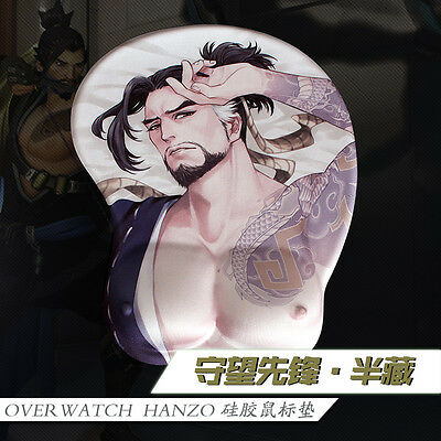 Game Mouse pad Overwatch Hanzo 3D Breast Silicone Soft Play Mat Men Wrist Rest