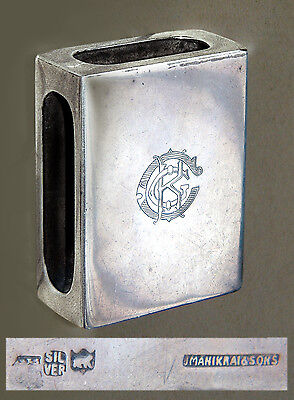 Solid Silver Matchbox Sleeve/Cover (CKG): J Manikrai & Sons: India (early 1900s)