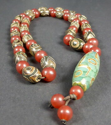 NEWLY CREATED HIMALAYAN AGATE 9 EYE dZi BEAD necklace from NEPAL FORTUNE ENERGY.