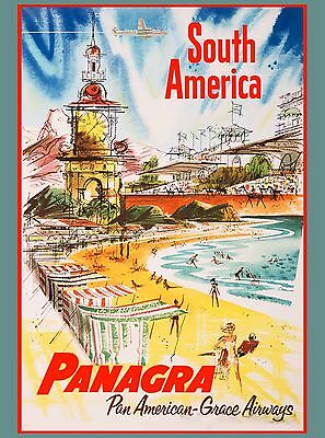Panagra South America Vintage Travel Art Poster Advertisement