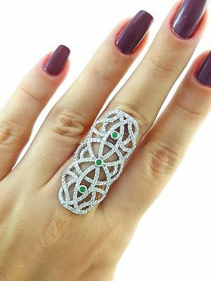 Turkish Handmade 925 Sterling Silver Fashion Jewelry Emerald Ring Size 6 R2289