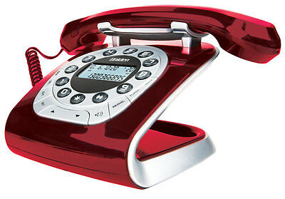 NEW Uniden - Modro 15 Red - Retro Style Digital Corded Phone from Bing Lee