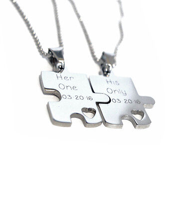 cc6154b5a9 His and Hers Necklace Set - Engraved Puzzle Couples Gift Set - Stainless  Steel