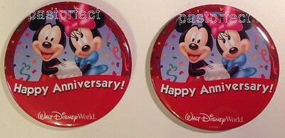 Disney 2 Button WDW Happy Anniversary Mickey Minnie Wedding Marriage Pin Retired