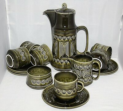 SylvaC - Totem Green - Complete 15 Piece Coffee Set for 6 - Retro/Vintage