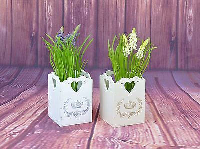 Vintage Shabby Chic Wooden Plant Flower Pot Garden Home Decor Wedding with Heart