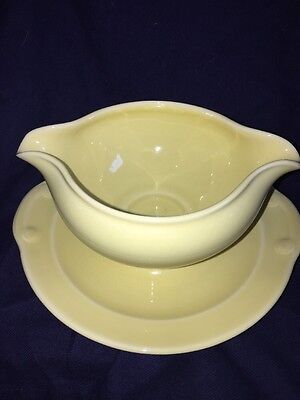 """Vintage Lu-Ray Pastels Yellow Gravy Boat With Attached Under Plate 7.5"""" X 3.5"""""""